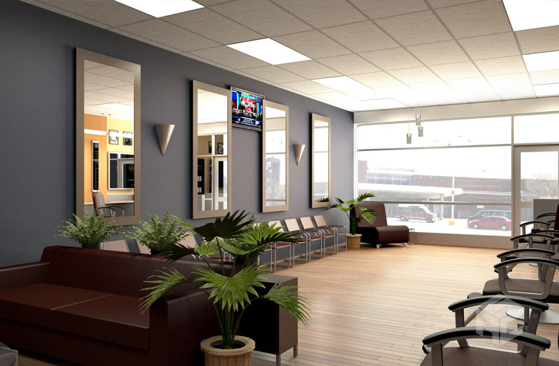 barbershop interior render