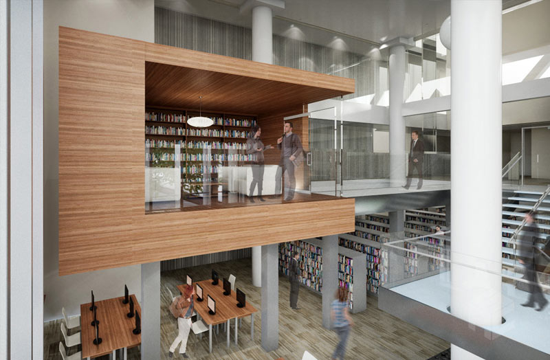 library interior rendering