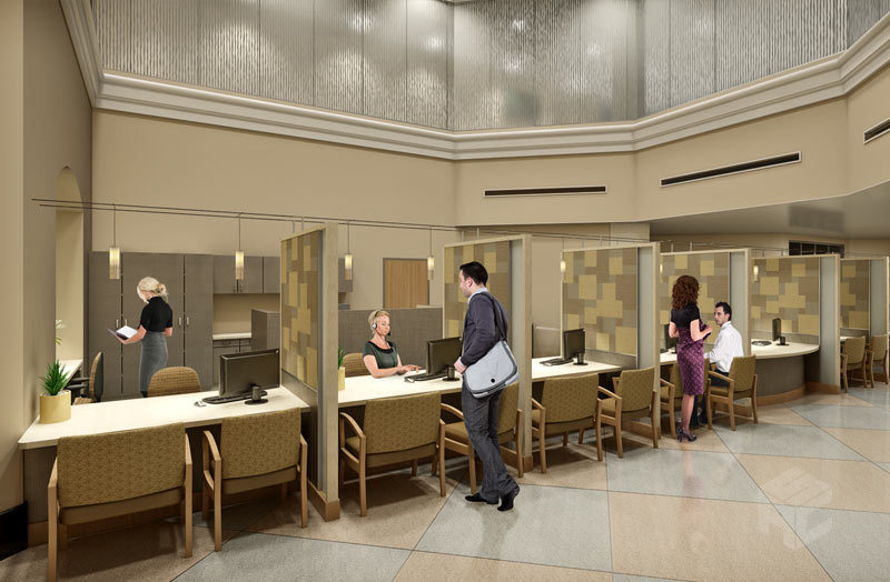 admitting lobby interior rendering